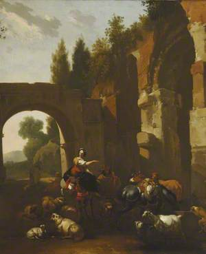 Peasants with Sheep and Cattle by a Ruin