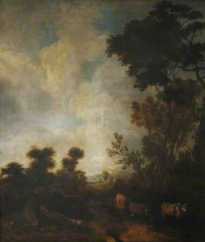 Wooded Landscape with Attending Cattle in the Foreground