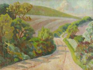 A Lane in Rolling Countryside, South Downs
