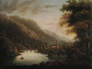 River Scene with a Chapel by Five Arched Bridges