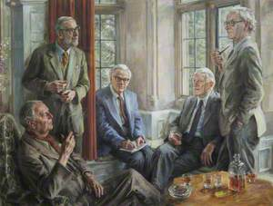 Arts and Sciences at Trinity: Group of Professor Alexander Ogston, Sir Ronald Syme (1903–1989), Kenneth, Lord Clark (1903–1983), Sir Hans Krebs (1900–1981), and Profesor Rodney Porter (1917–1985)