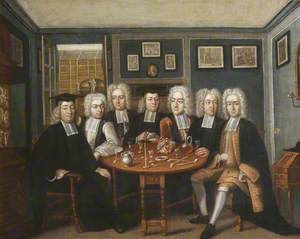Thomas Cockman (1675–1745), Master of University College, Oxford, and Fellows Sitting in the Old Master's Lodgings