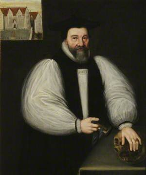 John Bancroft (1574–1641), DD, Master (1610–1632), Bishop of Oxford (1632–1640), with a View of Cuddesdon Rectory (which he built) in the Background