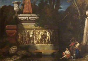 Three Nymphs by a Pool before a Sarcophagus