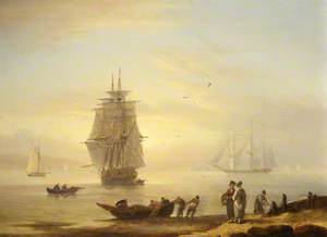 Men-o'-War and Figures on the Shore at Teignmouth