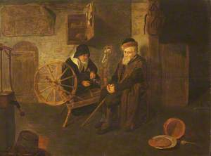 Interior with Old Man and Old Woman Spinning