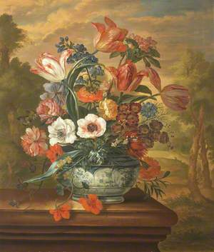 A Delftware Vase of Tulips, Anemones, Roses, and Other Flowers on a Stone Ledge in a Landscape