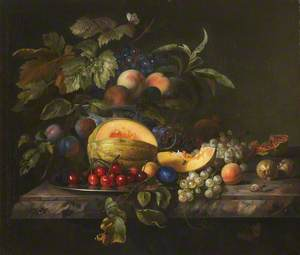 A Melon, Cherries, Grapes, and Other Fruit