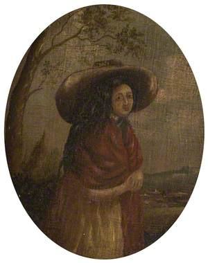 Portrait of a Woman with a Red Shawl and a Wide-Brimmed Hat