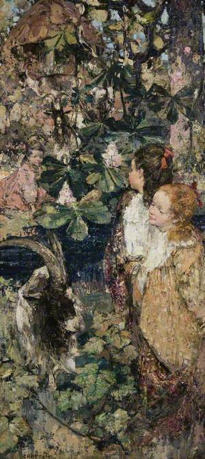 A Woodland Scene with Children and Goats