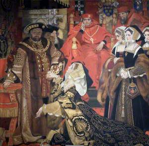 Henry VIII and Catherine of Aragon  before Papal Legates at Blackfriars, 1529