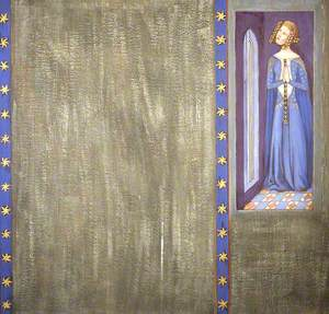 Reconstruction of Medieval Mural Painting, Possibly Queen Philippa or Daughter