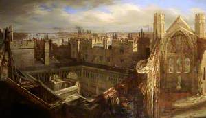 Panorama of the Ruins of the Old Palace of Westminster, 1834