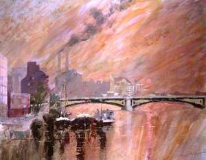Sunset over Battersea Bridge