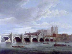 Westminster Abbey and Bridge from the River Thames