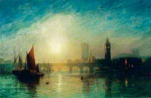 View of Westminster Bridge and the Houses of Parliament with a Hay Barge