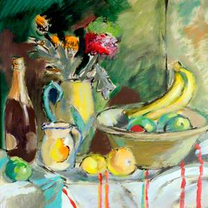Still Life with Champagne Bottle