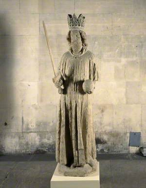 Mediaeval King in Westminster Hall, c.1388, High Crown, Wig-like Hair, Pointed Bearded, Sword in Right Hand, Left Holding Orb