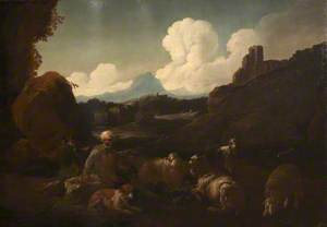 Peasant Attending Sheep