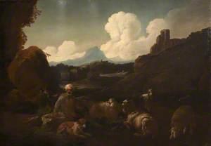 Peasant Attending Sheep