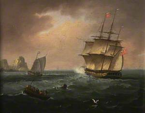 A British Frigate Firing a Warning Gun to a Dutch Coastal Vessel