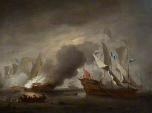 A Row Galley on Fire