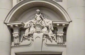 Allegorical Female Figures, Quadriga, Putti and Related Decorative Carving