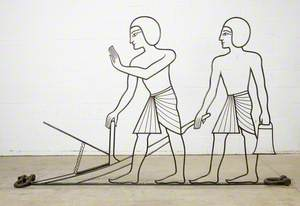 Egyptian Agriculture: Two Egyptian Men Supporting a Plough