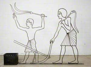 Egyptian Agriculture: Egyptian Man with Whip, Supporting Ox Plough and a Boy Holding a Whip