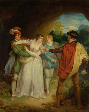 Valentine Rescuing Silvia from Proteus, from Shakespeare's 'The Two Gentlemen of Verona', Act V, Scene IV, the Outlaws' Cave
