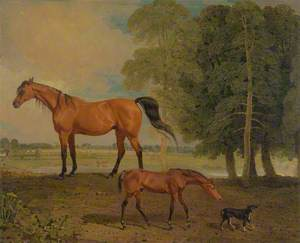 Broodmare with Foal, and a Terrier