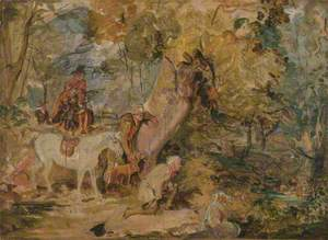 A Sketch for 'Foresters Stalking Deer'