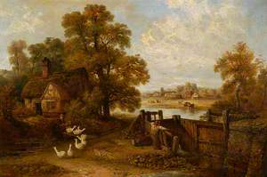 Suffolk Scene, a Cottage and Some Geese