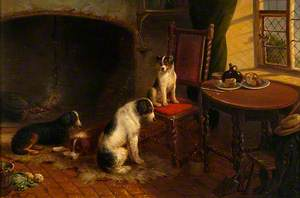 Interior with Four Dogs