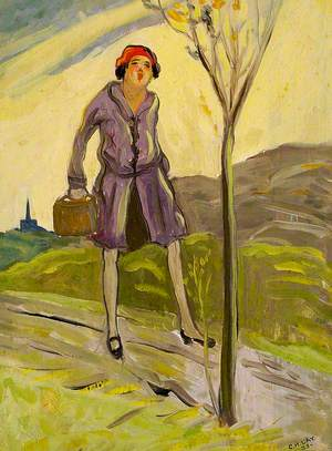 Woman in a Gray Coat with a Bag