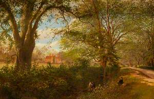 View of a Lane with a House through Trees