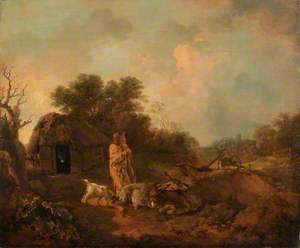 Wooded Landscape with Old Peasant and Donkeys Outside a Barn