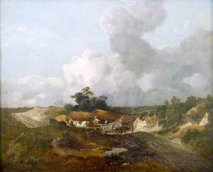 Open Landscape with Country Wagon on an Undulating Track