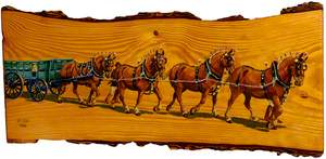 Team of Suffolk Punches Drawing a Miller's Wagon