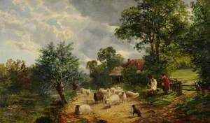 Landscape with Sheep and Figures