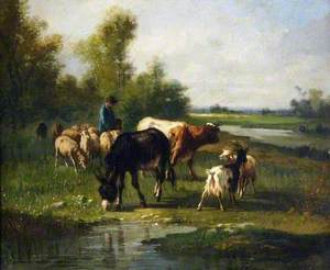 Landscape with Cattle, Goats and a Donkey