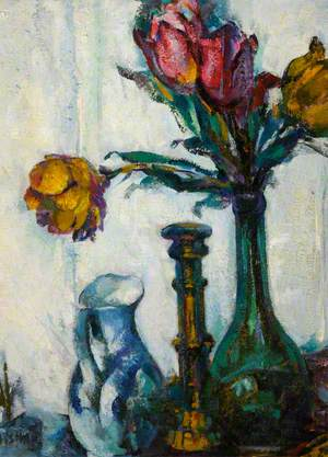 Still Life with Tulips, a Jug and a Candlestick