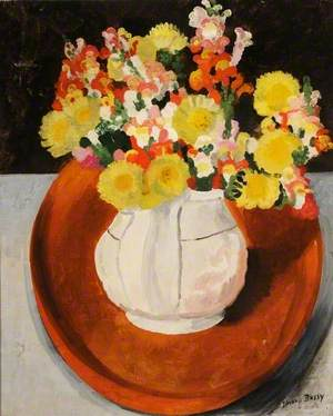 Mixed Flowers in a White Jug