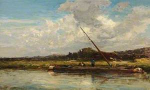 River Scene with Barges