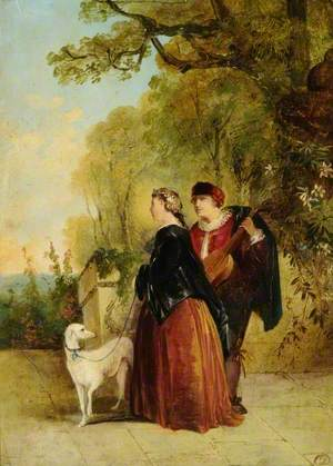 A Musician, and a Lady with a Dog in a Landscape