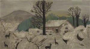 A Winter Scene with Deer