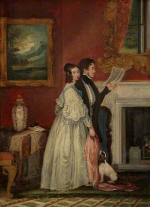 Sir Alexander Malet and Lady Malet in the Blue Drawing Room at Wilbury