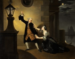Garrick as Jaffier and Cibber as Belvidera in 'Venice Preserv'd' by Thomas Otway, Drury Lane, 1762–1763