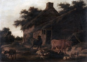 Farmstead with Cattle and a Boy