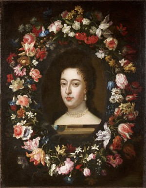 A Flower Garland with Portrait of Mary II